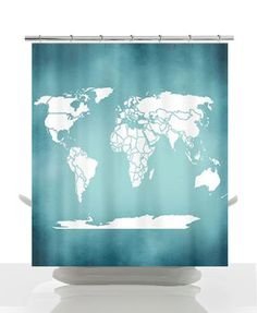 #Shower Curtain - Minimalist Blue Antique #World  Map- Home Decor - Bathroom