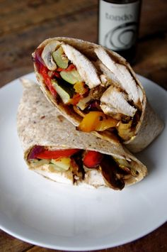 Roasted Vegetable & Balsamic Chicken Wrap - a combination of veggies, chicken, herbs, and basil, rolled into a warm, hearty dinner