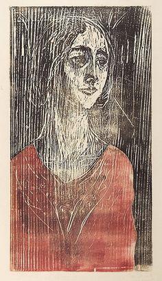 Edvard Munch, Brigitte, woodcut #graphic art