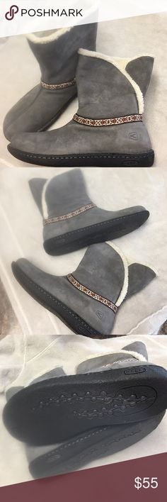 Keen suede gray boots sheepskin size9 boots NWOT New  without tags warm and Cozy keen boots very stylish and fashionable beautiful color gray Keen Shoes Ankle Boots & Booties