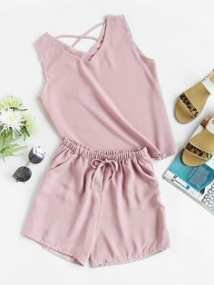 Shop Criss Cross Back Tank Top And Shorts Set at ROMWE, discover more fashion styles online. Kpop Outfits, Dance Outfits, Cute Outfits, Girl Fashion, Fashion Dresses, Womens Fashion, Classic Outfits, Dress To Impress, Editorial Fashion