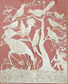 <b>Elizabeth Cobbold</b> <b>(British, 1767-1824)</b> <br  /> A paper cut out sillhouette of exotic birds on a branch with an angel playing a trumpet and a handwritten verse below <br  /> paper cut out <br  /> h:23 w:19.50 cm <br  />  <br  /> <i>Provenance:</i> From the collection of the late Christopher Hogwood CBE <br  />  <br  /> <i></i> Elizabeth Cobbold of Ipswich sent paper cut -outs as invitations to her annual St. Valentine's Day Ball in the early 19th Century, making around...