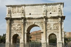 """The monument Arch of Constantine, contained no reference to Christianity. The main inscription says: """"To the Emperor Caesar Flavius Constantinus, the greatest, pious, and blessed Augustus: because he, inspired by the divine, and by the greatness of his mind, has delivered the state from the tyrant and all of his followers at the same time, with his army and just force of arms, the Senate and People of Rome have dedicated this arch, decorated with triumphs."""""""