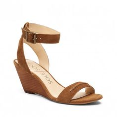 Sole Society Georgia | Tan suede mid heel wedge sandal with an adjustable ankle strap and a front strap. A sunny season essential.