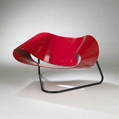 CESARE LEONARDI AND FRANCA STAGI    Ribbon chair, model CL9    Bernini  Italy, 1961  lacquered fiberglass, enameled metal  39 w x 29 d x 24 h inches