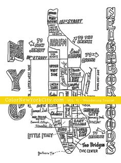 NYC Neighborhoods Map coloring page.  From the coloring book:  Color New York City - Volume #1 - Wandering Tourist Available now at Amazon: http://amzn.com/1517559111