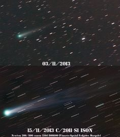 2013 Nov 15: A composite comparing the appearance of C/ISON from March and November 2013. Image by: Iko Margalef, Spain.