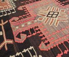 "Vintage Anatolian Kilim with Rams Horn Medallions in Brown + Pink 5'1"" x 15'1"" 