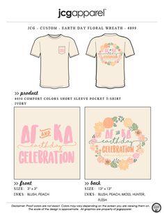 JCG Apparel : Custom Printed Apparel : Delta Gamma and Kappa Delta Earth Day T-Shirt #deltagamma #dg #kappadelta #kd #earthday #celebration #floral #happyearthday