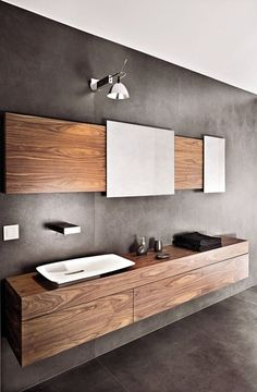 Modern bathroom furniture combines elegant and artistic materials with comfortable accessories. Floating vanity cabinets are a growing trend in the Bathroom Renos, Bathroom Layout, Bathroom Furniture, Bathroom Interior, Bathroom Ideas, Vanity Bathroom, Small Bathroom, Remodel Bathroom, Washroom