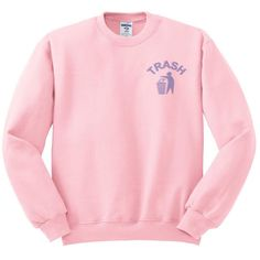 Trash Crewneck Sweater, Pastel Goth, Tumblr Shirt, 90's Style,... (9.785 CLP) ❤ liked on Polyvore featuring tops, sweaters, pastel sweaters, pastel pink shirt, goth shirts, pastel pink sweater and grunge sweaters