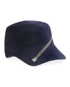 Philip Treacy Velour Baseball Cap w  Oversized Zip Detail 44c8b9ab7140