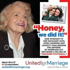 Edie Windsor to her late wife, Thea Spyer.