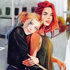 Harley Quinn and Poison Ivy  In a modern AU ❣  incase you haven't already noticed I love modern AUs any other superhero/villain AU ideas?
