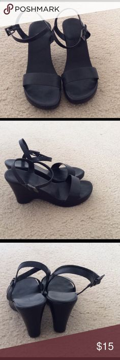 Banana Republic black wedges Good condition, 3.5 inch heel with a 3/4 inch platform. Smoke free home, no rips or holes, no trades. Banana Republic Shoes