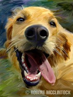"""Golden Tongue"" - Golden Retriever - This actually hangs in my house. Looks just like our boy Mosby. :)"