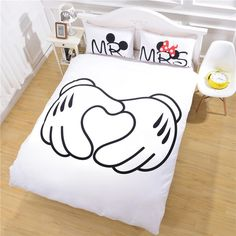 Direct Selling Heart Mickey Mouse Bedding Plain Printed Sheet Set Christmas Gift Soft Home Textiles Bedroom Twin Full Queen Cheap Duvet Cover Sets Bedroom Comforter Sets Queen From Beddingoutlet, $57.81| Dhgate.Com