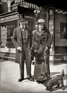 Scottish Terrier, 1917 vintage photo of couple walking their Scotty dog Vintage Pictures, Old Pictures, Vintage Images, Old Photos, Photo Vintage, Vintage Dog, Look Vintage, Shorpy Historical Photos, Historical Pictures