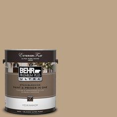 BEHR Premium Plus Ultra 1-Gal. #UL170-4 Gobi Tan Flat Exterior Paint