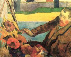 Van Gogh pintando girasoles. Paul Gauguin