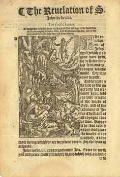 "1552 Tyndale Illustrated New Testament - Title Page to Revelation (""The Apocalypse"")"