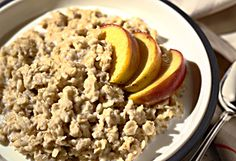 Packet instant oatmeal, 4 oz low fat cottage cheese with 4 oz no sugar added peaches.