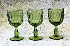 Vintage Set of 3 FENTON Colonial Green Thumbprint 5 Inch Wine Glasses From The 60's Collectible Fenton Depression Glass Excellent Condition by ShabbyCandleAntiques on Etsy