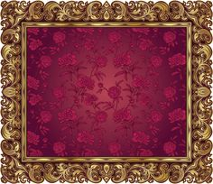 gold ornate frame vector art illustration