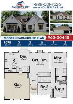 One Level House Plans, Small House Floor Plans, Open House Plans, Basement House Plans, Best House Plans, Dream House Plans, Floor Plan With Basement, Small Farmhouse Plans, Small Cottage House Plans