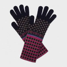 Paul Smith Women's Gloves | Navy Fair Isle Lambswool Gloves