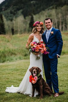 Flowers by Lace and Lilies, colorful coral and red bouquet, flower crown, boutonniere and dog flowers