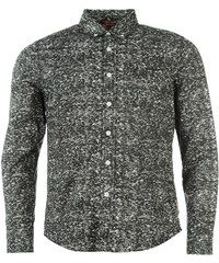 Lee Cooper Cooper Long Sleeve All Over Pattern Textile Shirt Mens, charcoal aop