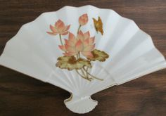 Vintage Fan Shaped Porcelain Dish~Gold Trimmed With Waterlilys and Butterfly