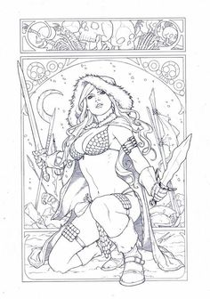 Original Comic Art titled Red Sonja in art nouveau, by Sami Basri, located in Dicky A.'s Dicky's Gallery Room Comic Art Gallery Detailed Coloring Pages, Adult Coloring Book Pages, Printable Adult Coloring Pages, Cute Coloring Pages, Coloring Pages To Print, Coloring Books, People Coloring Pages, Comic Books Art, Comic Art
