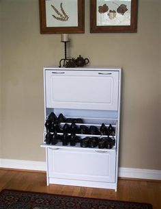 Deluxe Triple Door Shoe Cabinet In White Finish Holds 36 Pairs Of Shoes