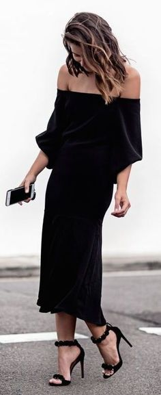 Fall fashion / black dress with fabulous heels.