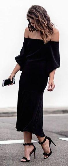 Fall fashion / black dress with fabulous heels.