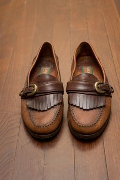 6cdb15076bd RESERVED for elegiacally: Vintage Single-Strapped Kiltie fringe Loafers  w/brass buckle by Cole Haan Country, Women's 9-9.5 Made in Brazil
