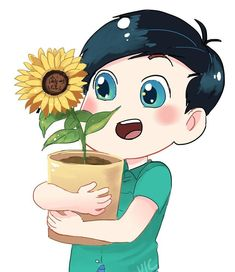 Last new sticker design~ tiny Phil holding a big sunflower #phanart #donotrepost