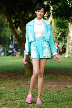 The Best Looks From Sao Paulo Fashion Week: Neon. Always love a good shorts suit. And in a light turquoise? Even better.