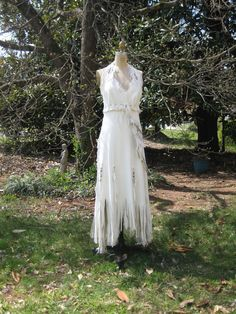 White Leather Wedding Dress Native American by hippiebride on Etsy, $1695.00