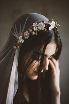 "Mignonne Handmade ""AUGUSTINA"" flower vine + candlelight blush English Net Drop Veil"