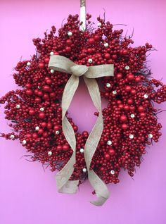Red Berry Wreath Valentines Wreath White Berry by AHolidayShoppe