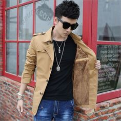 Winter Men's With thick fleece Cotton Jacket Brand Clothing Men Solid Color Windbreaker Wear Homme Men's Long Coat