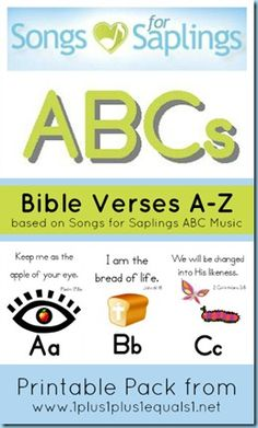 Songs for Saplings ABC Bible Verse Printables - printable pack condensed for easier printing and laminating Abc Bible Verses, Verses For Kids, Bible Songs, Printable Bible Verses, Bible For Kids, Free Printable, Preschool Bible, Bible Activities, Preschool Themes