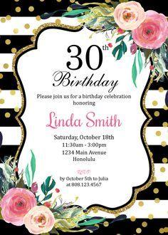 30th Birthday Invitation for Women. Black by StrawberryPartyPrint