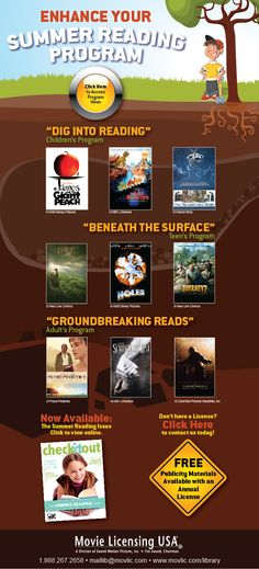 Enhance Your Summer Reading Program with these movie suggestions! Please choose to load images to view additional information!