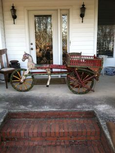 Antique Primative Folk Art Horse And Buggy Original Paint 7ft Long