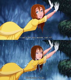 "Me while reading Allegiant ""It can't get any worse, can it?"" ~Divergent~ ~Insurgent~ ~Allegiant~ {Jane from Disney's Tarzan} Walt Disney, Disney Love, Disney Magic, Disney Style, Humor Disney, Disney Quotes, Disney And Dreamworks, Disney Pixar, Disney Characters"