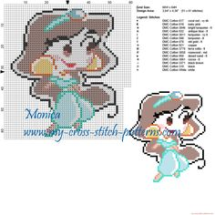 Jasmine chibi patrón punto de cruz Beaded Cross Stitch, Cross Stitch Baby, Cross Stitch Charts, Cross Stitch Embroidery, Disney Cross Stitch Patterns, Cross Stitch Designs, Holly Hobbie, Silhouettes Disney, Stitch Disney